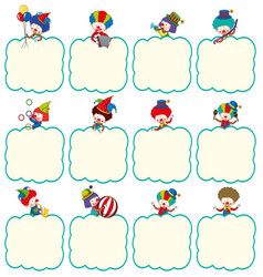 border template with clowns in different actions vector image