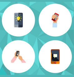flat icon phone set of screen chatting cellphone vector image vector image