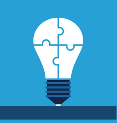 lightbulb of puzzles standing vector image vector image