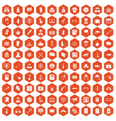 100 crime investigation icons hexagon orange vector