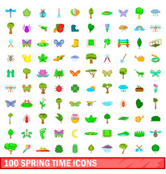 100 spring time icons set cartoon style vector image