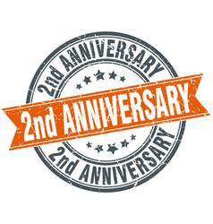 2nd anniversary round grunge ribbon stamp vector