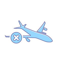 Airplane Cancel Flight Plane Transport Travel Icon Vector