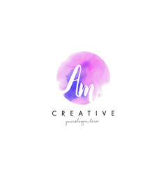 Am watercolor letter logo design with purple vector