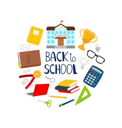 back to school banner with stationery vector image