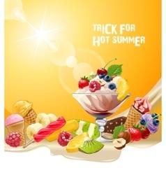 Background delicious ice cream vector