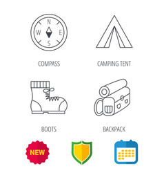 backpack camping tent and compass icons vector image