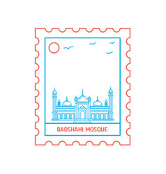 badshahi mosque postage stamp blue and red line vector image