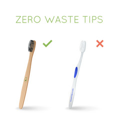 Bamboo toothbrush instead of plastic toothbrush vector