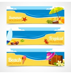 Banner set of summer beach vector