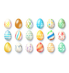 big set easter eggs isolated on white vector image