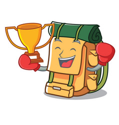 boxing winner backpack mascot cartoon style vector image