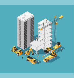 Building construction 3d isometric concept vector