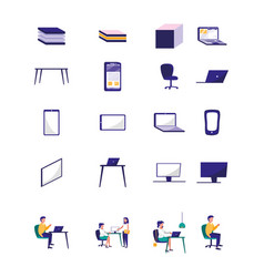 Bundle people in office with set icons vector