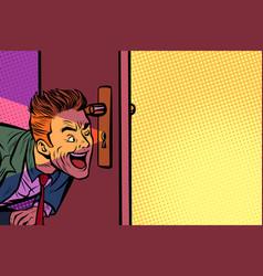 Businessman spying through keyhole vector