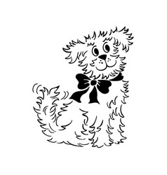 cartoon dog outlined hand drawn sketch vector image