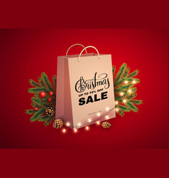 christmas sale design template with realistic vector image