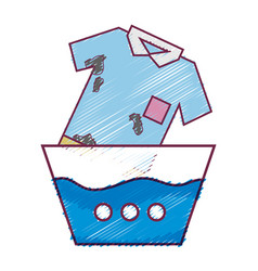 Clean t-shirt soaking in pail with water vector