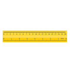color yellow measuring ruler 20 centimeters and 8 vector image