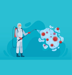 Coronavirus disinfection man in protection suit vector