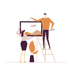 Couple hanging a picture - flat design style vector