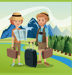 Couple tourists traveler suitcases luggage map vector