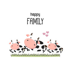 Cute cow family father mother and baby vector