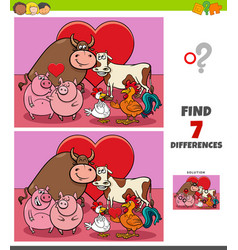 differences game with farm animals in love vector image