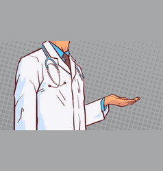 doctor hold open palm hand to copy space closeup vector image