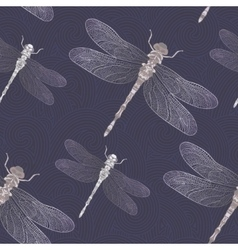 Dragonfly on a dark blue background vector