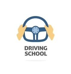 Driving school logo hands holding sport vector