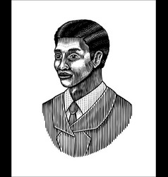 elegant man male face afro american gentlemen vector image