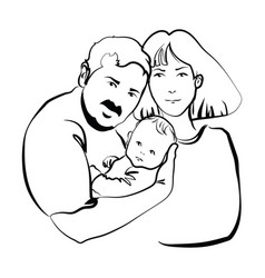 Family with baby father and mother hug vector