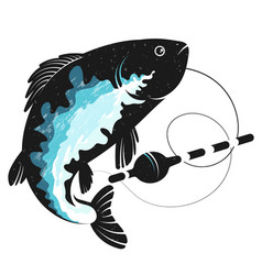 fish silhouette with fishing float vector image