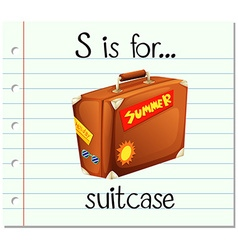 Flashcard letter S is for suitcase vector image