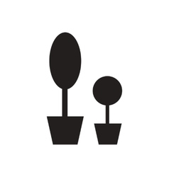 Flat icon in black and white flowerpots vector