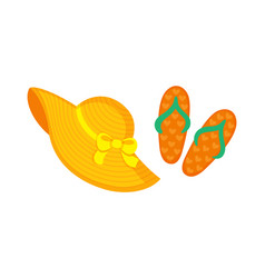 flip flops sandals headwear with bows ribbon vector image