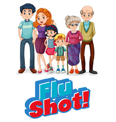 Flu shot sign with family member vector