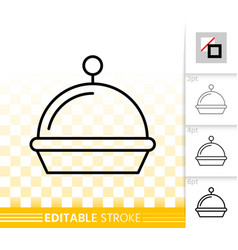 food tray simple black line restaurant icon vector image