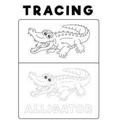 Funny alligator crocodile animal tracing book vector
