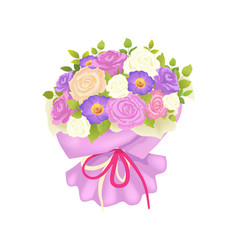 gentle bouquet of rose and daisy flowers wrapping vector image