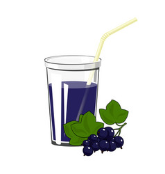 Glass with blackcurrant juice vector