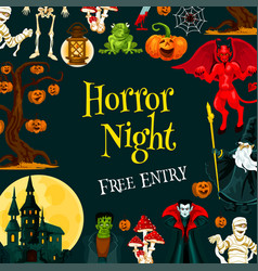 Halloween horror night party invitation banner vector