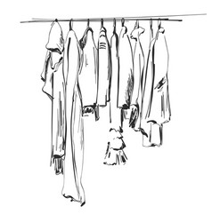 Hand drawn wardrobe sketch clothes on hunger vector