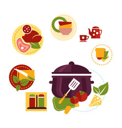 healthy fresh food depicting cooking process vector image