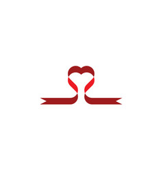 heart ribbon design element icon symbol vector image