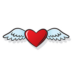 heart wings fly romantic comics style vector image