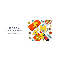 holiday new year card - merry christmas vector image
