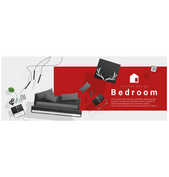 Interior banner sale with bedroom furniture vector