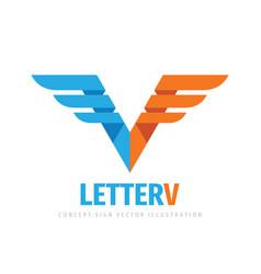 letter v concept business logo design wing vector image